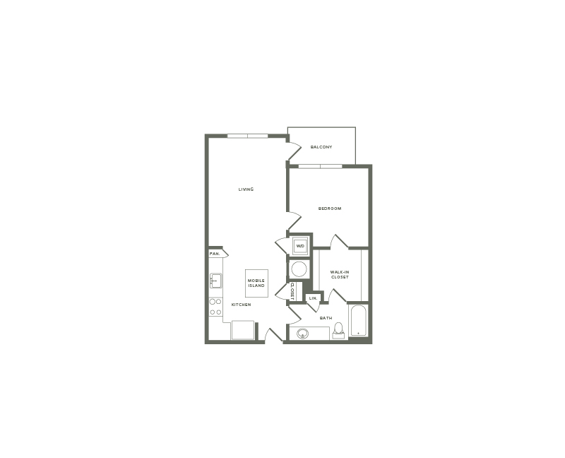 753 square foot one bedroom one bath apartment floorplan image
