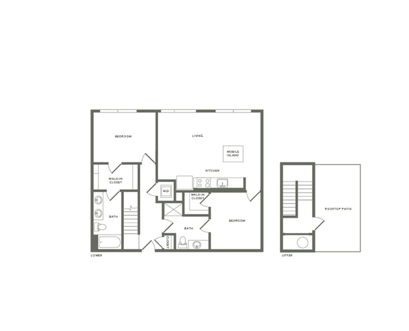 1193 to 1201 square foot two bedroom two bath with rooftop patio apartment floorplan image