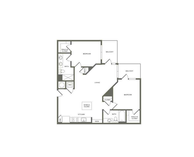 1121 to 1142 square foot two bedroom two bath apartment floorplan image