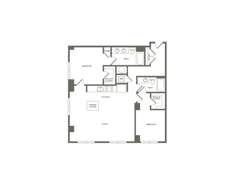 1270 square foot two bedroom two bath apartment floorplan image