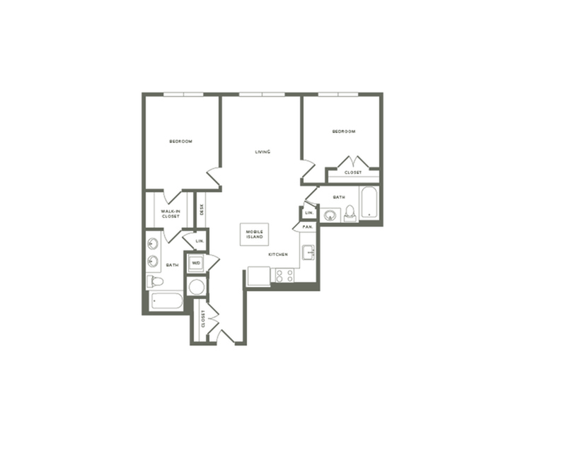 1067 square foot two bedroom two bath apartment floorplan image