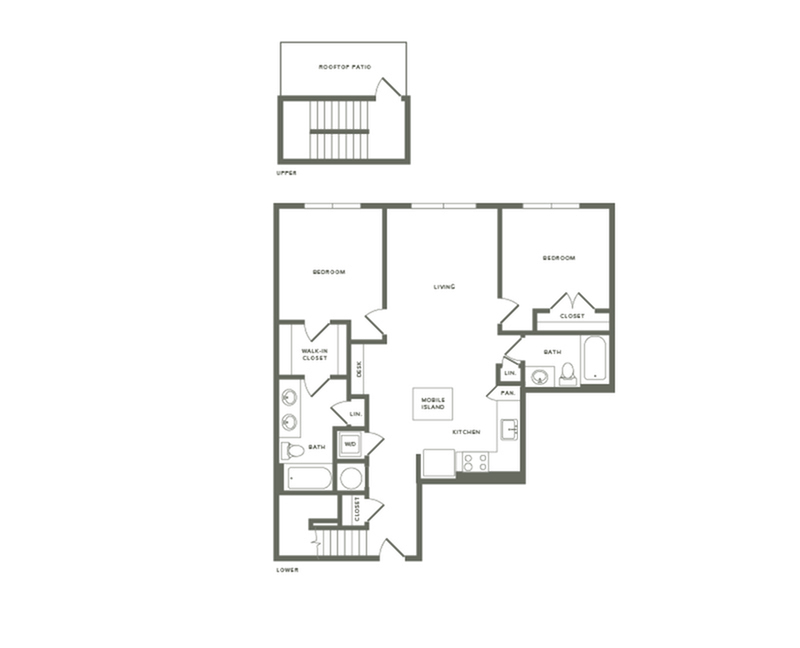 1167 square foot two bedroom two bath with rooftop patio apartment floorplan image