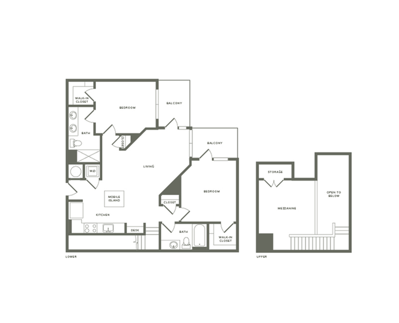 1311 to 1317 square foot two bedroom two bath with mezzanine apartment floorplan image