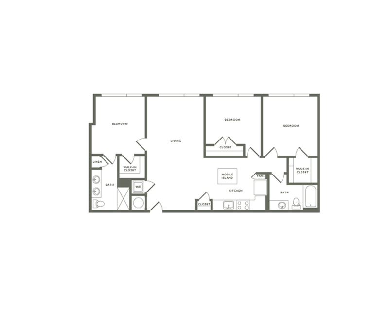 1307 to 1317 square foot three bedroom two bath apartment floorplan image