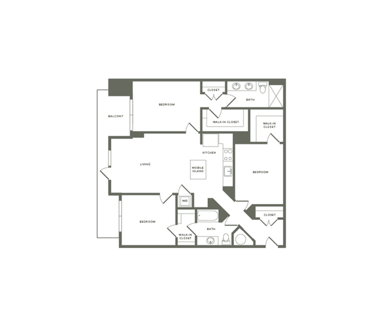 1342 square foot three bedroom two bath with center access to balcony apartment floorplan image