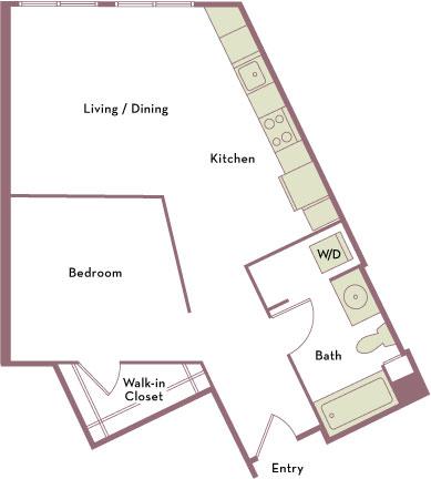 685 square foot studio one bath apartment floorplan image