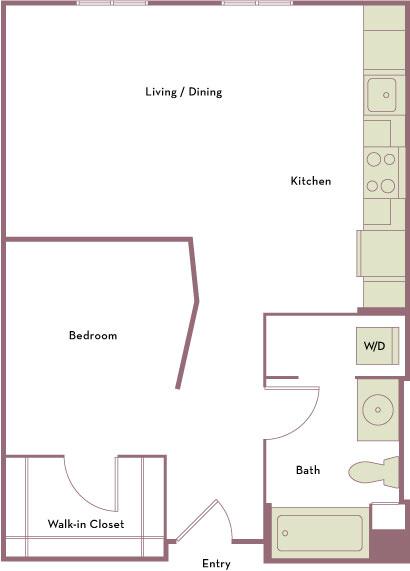 650 square foot studio one bath apartment floorplan image
