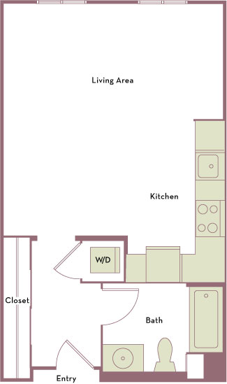 525 square foot studio one bath apartment floorplan image