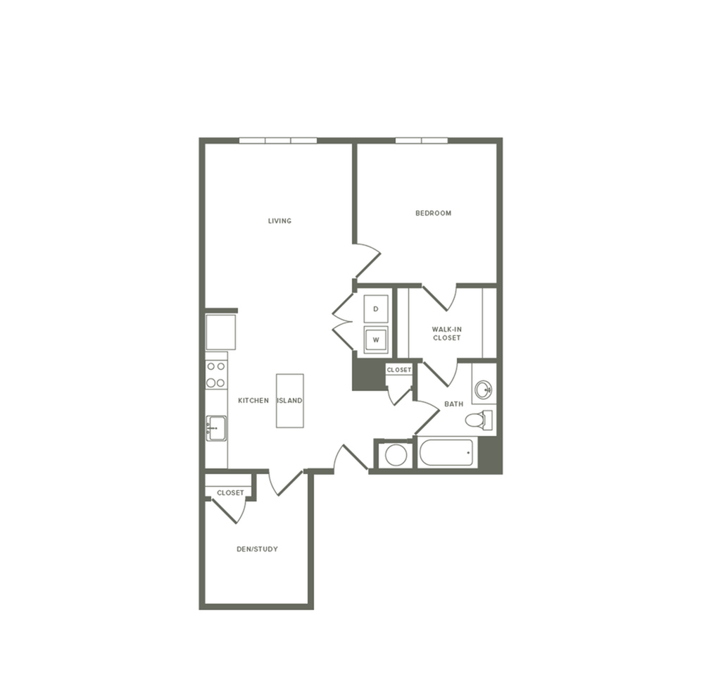 863 square foot one bedroom one bath den apartment floorplan image
