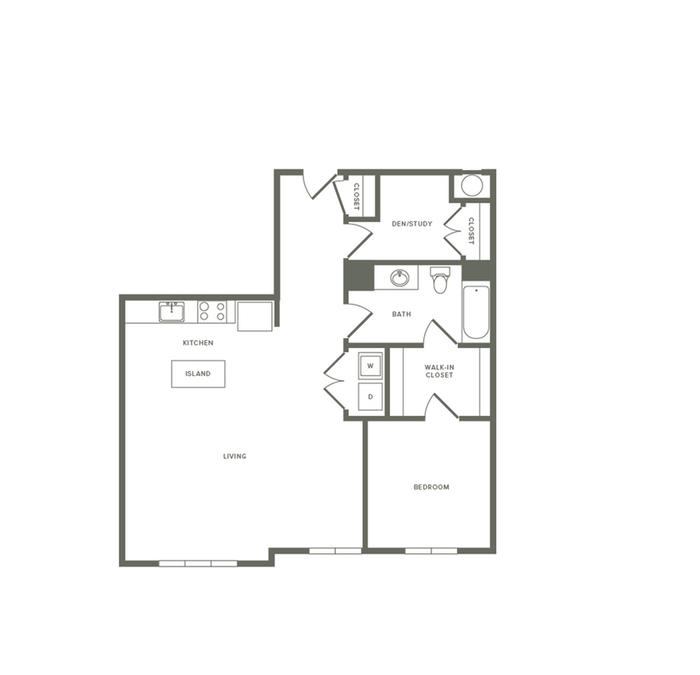 908 square foot one bedroom one bath with en apartment floorplan image