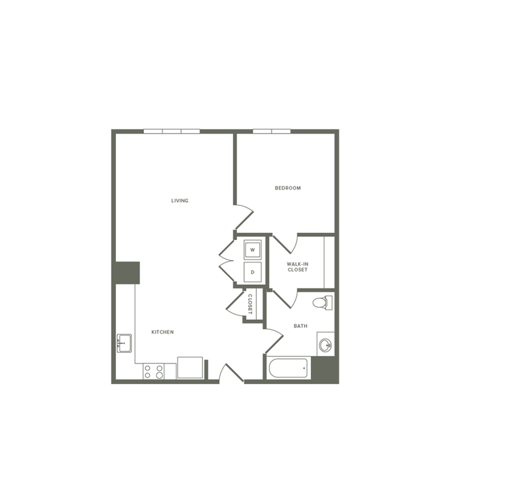 836 square foot one bedroom one bath apartment floorplan image