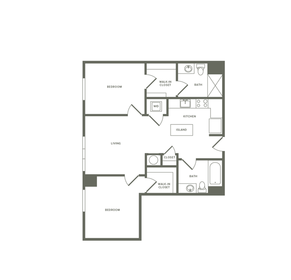 951 square foot two bedroom two bath apartment floorplan image