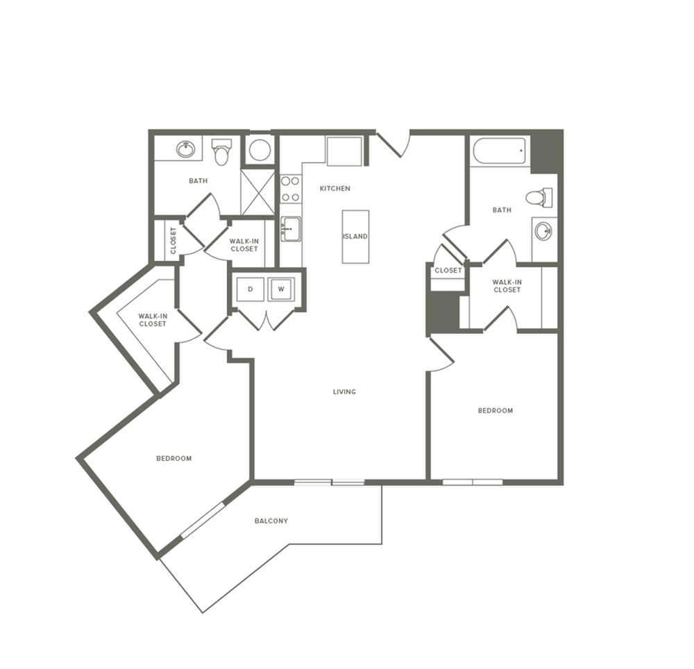 1216 square foot two bedroom two bath apartment floorplan image