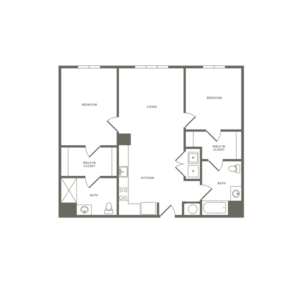 1105 square foot two bedroom two bath apartment floorplan image