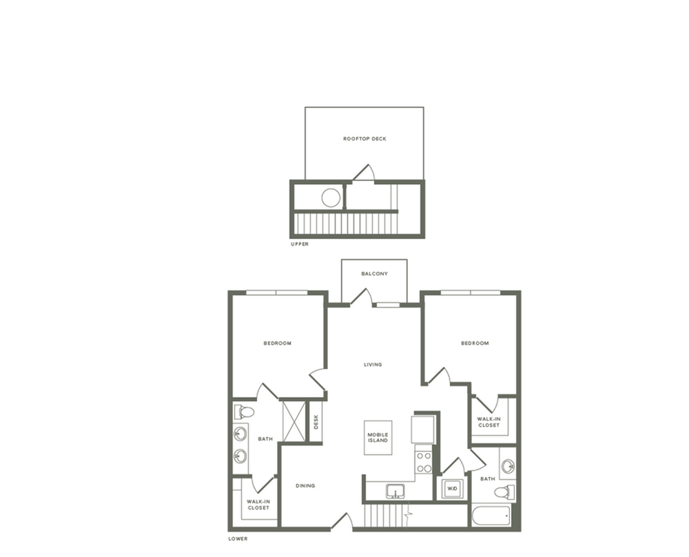 1149 to 1198 square foot two bedroom two bath with rooftop patio apartment floorplan image