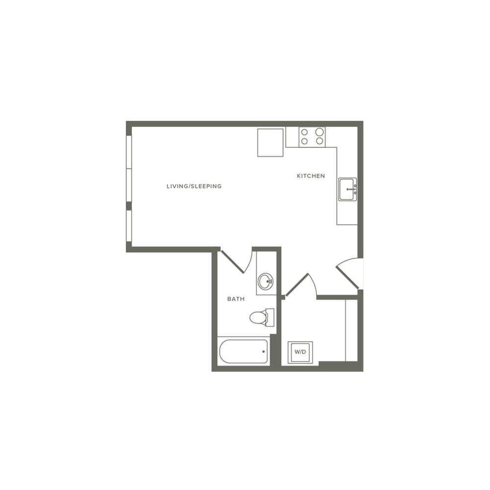 433 square foot studio one bath floor plan image