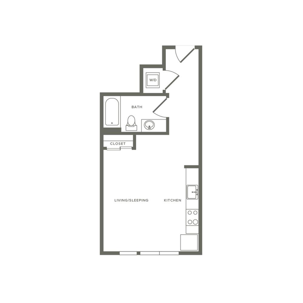 473 square foot studio one bath floor plan image