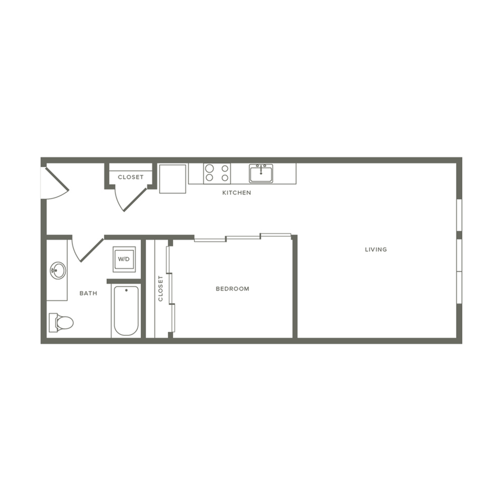 One bedroom ranging from 652 to 654 square feet one bath apartment floorplan image