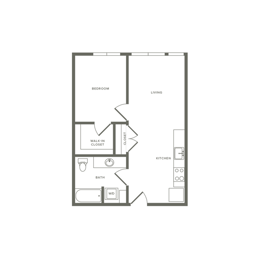 One bedroom ranging from 613 to 626 square feet one bath apartment floorplan image
