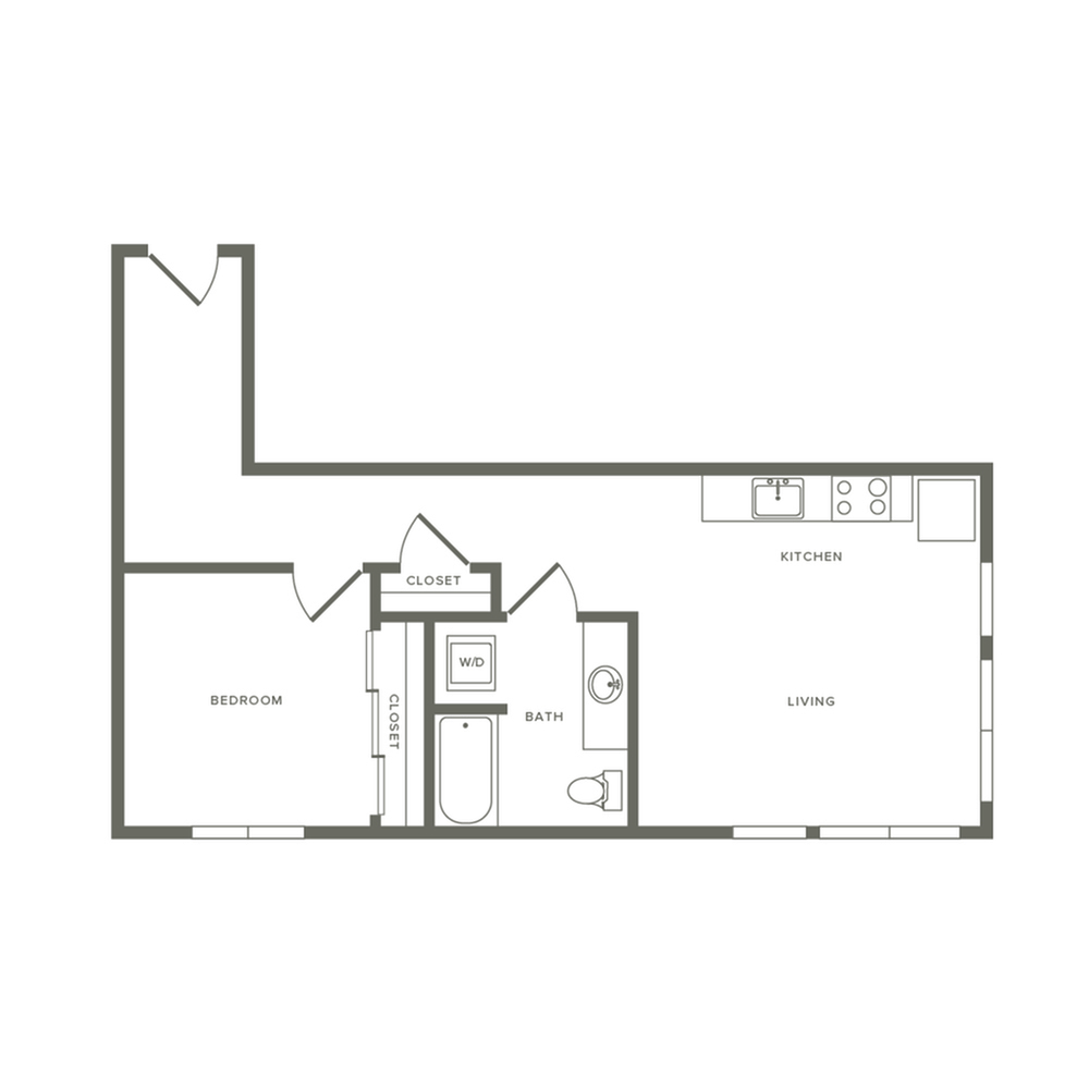 One bedroom ranging from 701 to 702 square feet one bath apartment floorplan image