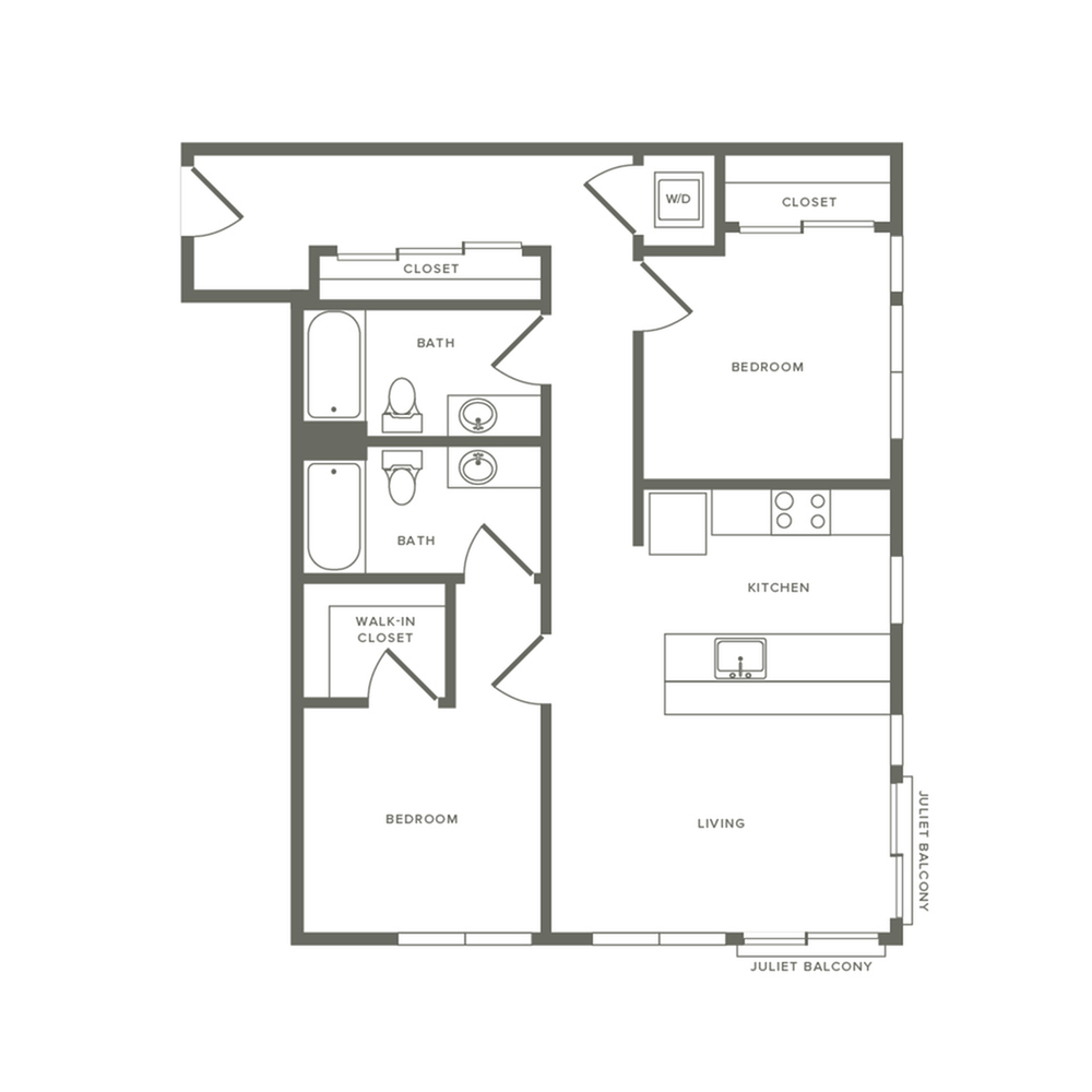 982 square foot two bedroom two bath apartment floorplan image