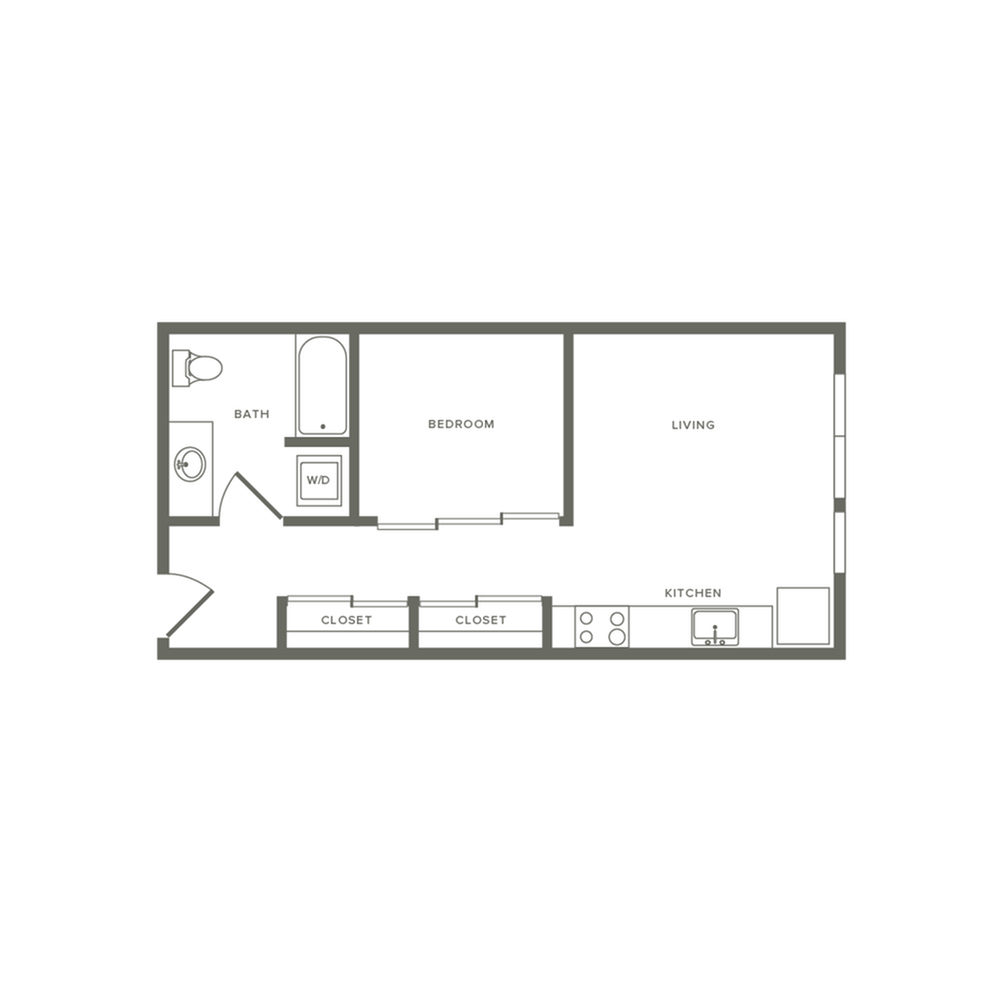 Income restricted one bedroom ranging from 531 to 644 square feet one bath apartment floorplan image