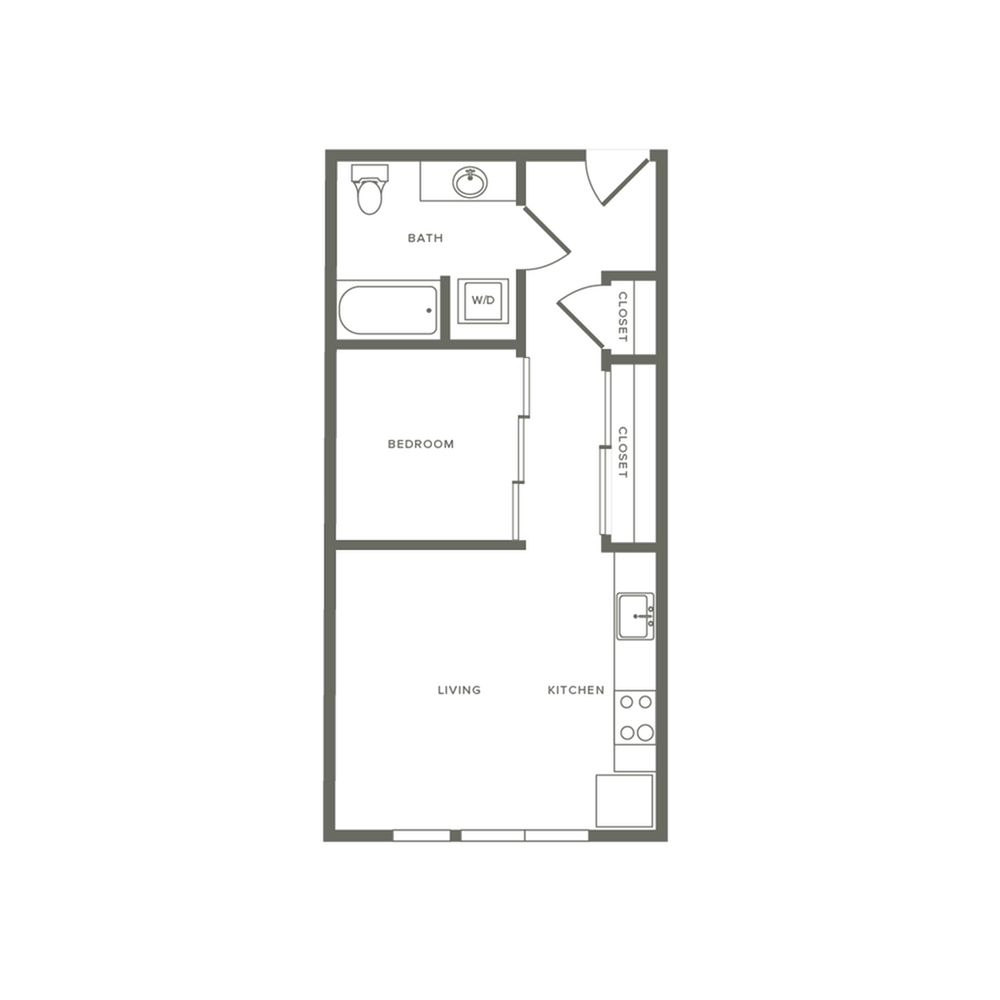 Income restricted one bedroom ranging from 521 to 599 square feet one bath apartment floorplan image