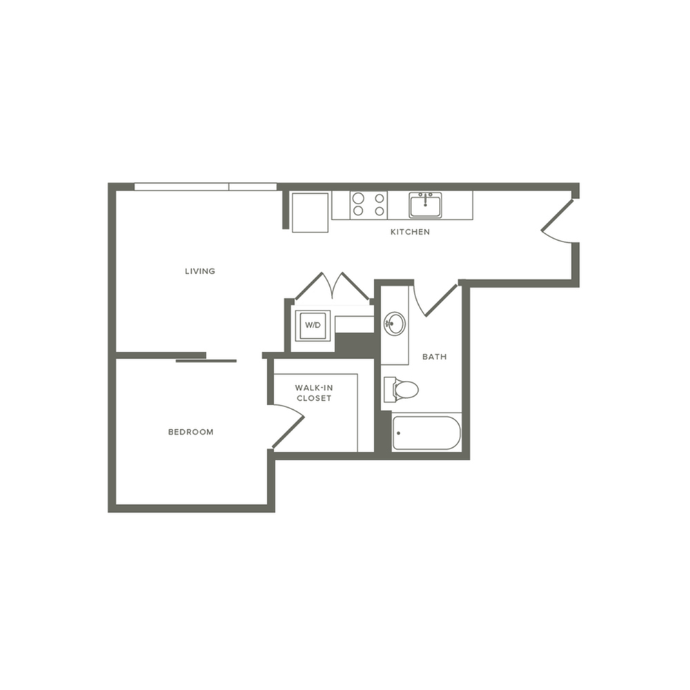 Income restricted 582 square foot one bedroom one bath apartment floorplan image