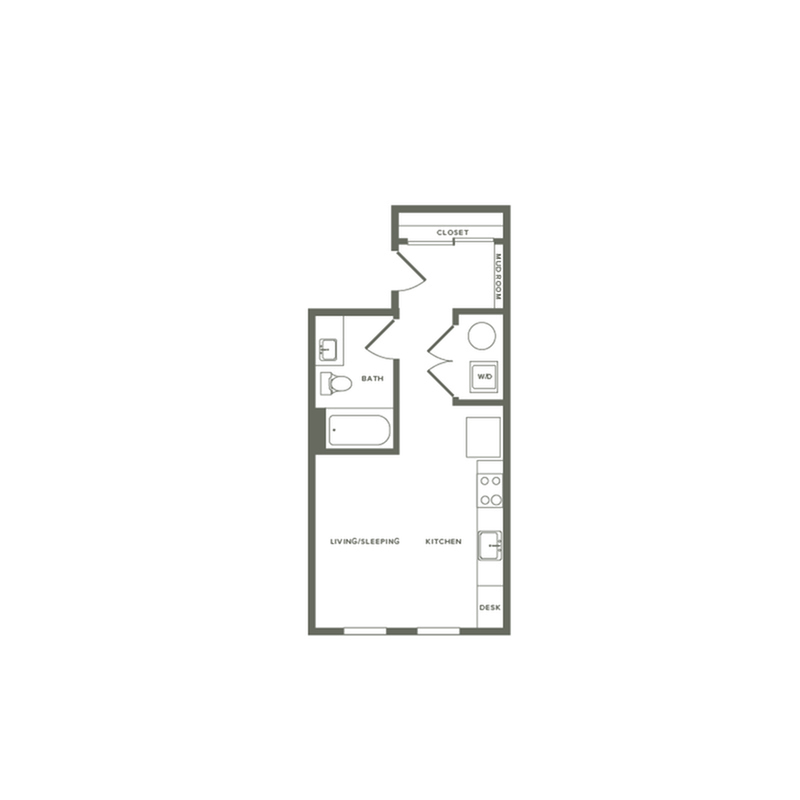 459 square foot studio one bath floor plan image