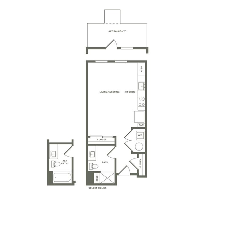 526 to 639 square foot studio one bath floor plan image