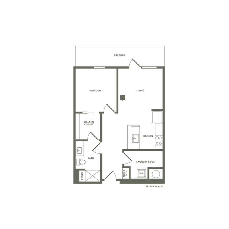 764 to 929 square foot one bedroom one bath apartment floorplan image