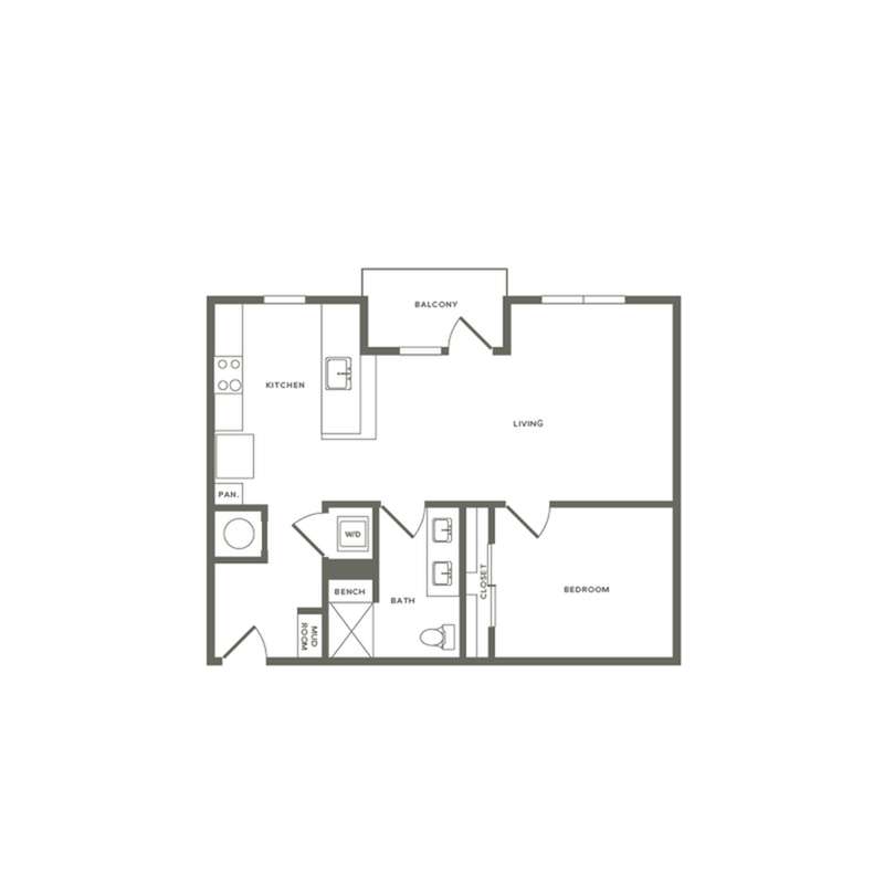 818 square foot one bedroom one bath apartment floorplan image