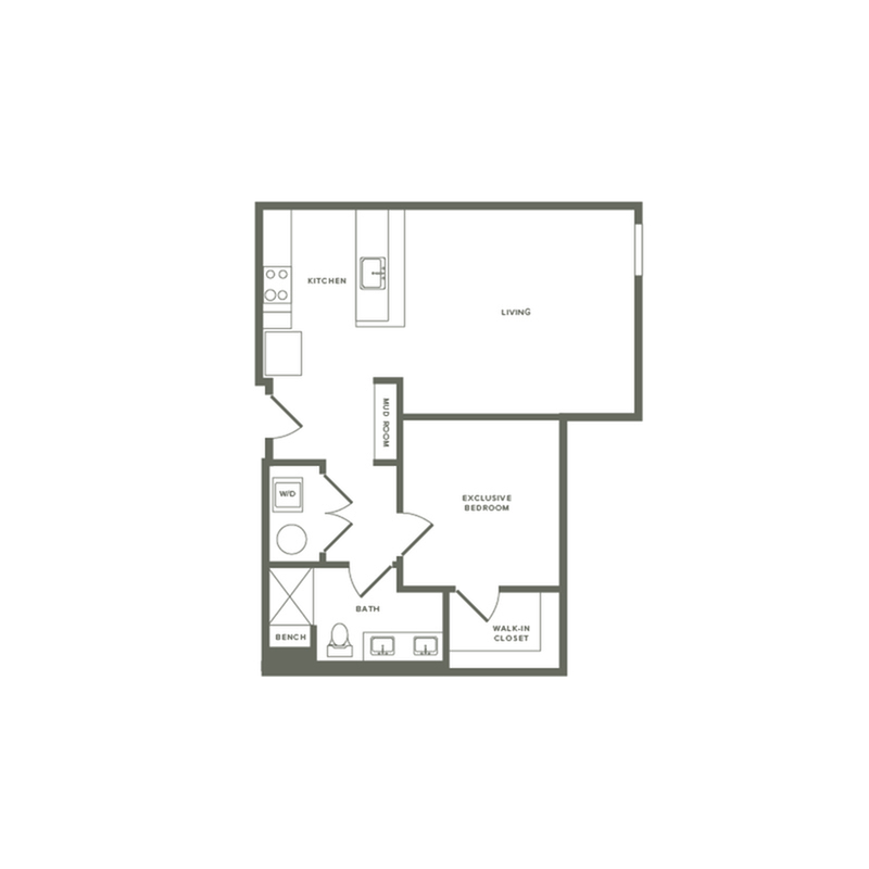 819 square foot one bedroom one bath apartment floorplan image