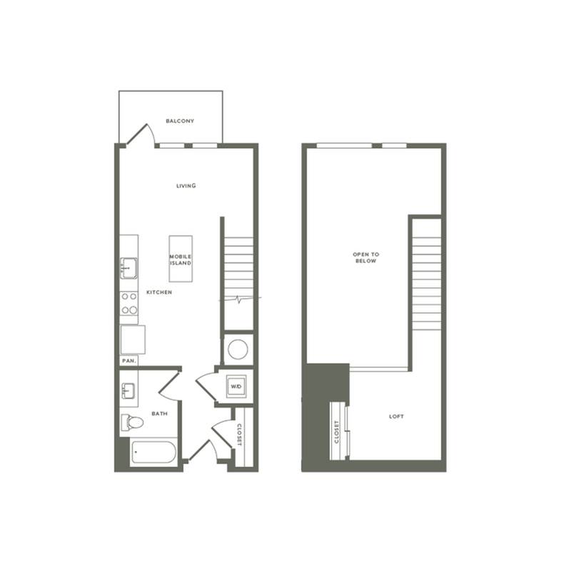 693 to 697 square foot one bedroom one bath with loft apartment floorplan image