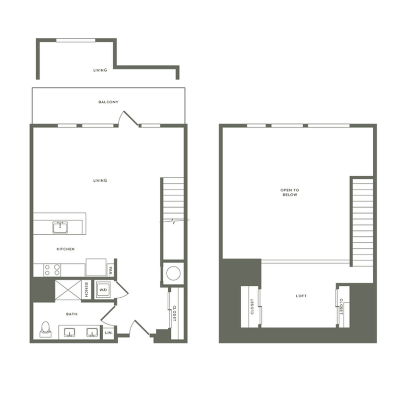 871 to 1008 square foot one bedroom one bath with loft apartment floorplan image