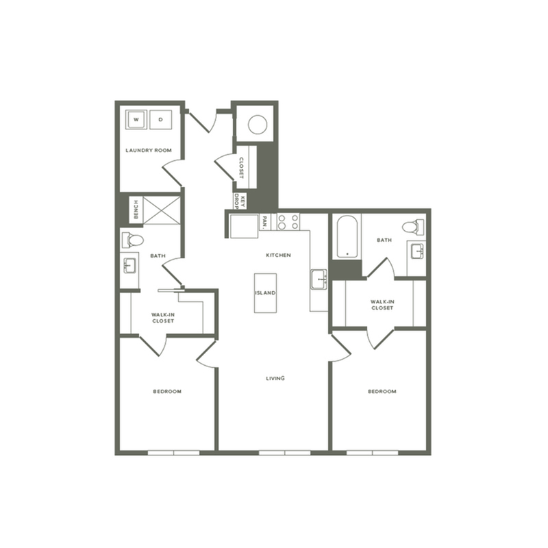 1201 square foot two bedroom two bath apartment floorplan image