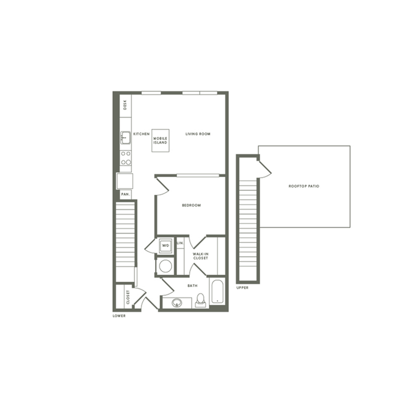 778 square foot one bedroom one bath with rooftop patio apartment floorplan image