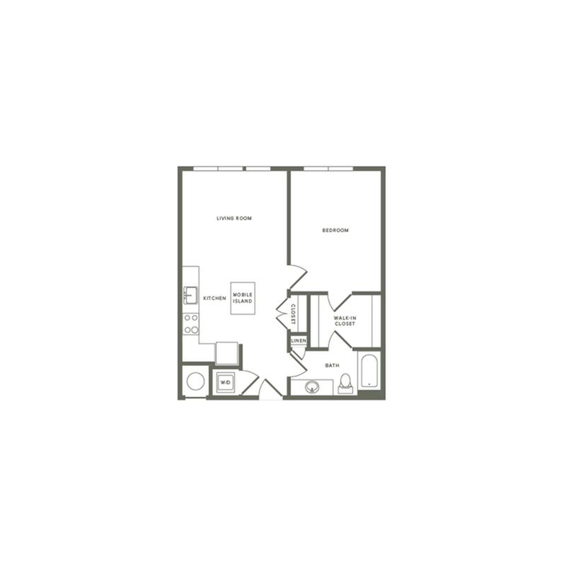 713 square foot one bedroom one bath apartment floorplan image
