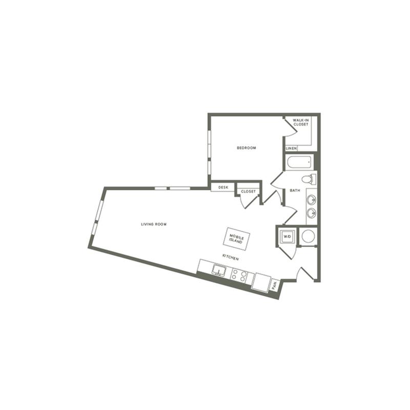 814 square foot one bedroom one bath apartment floorplan image