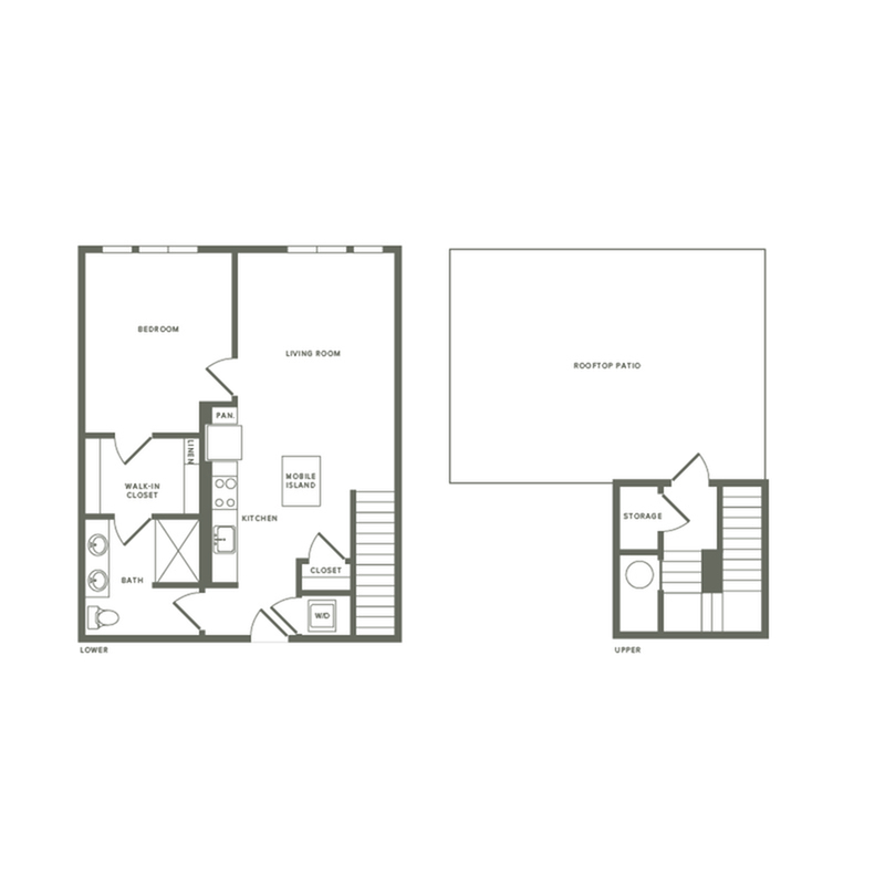 877 square foot one bedroom one bath with rooftop patio apartment floorplan image