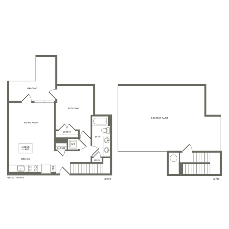 809 square foot one bedroom one bath with rooftop patio apartment floorplan image