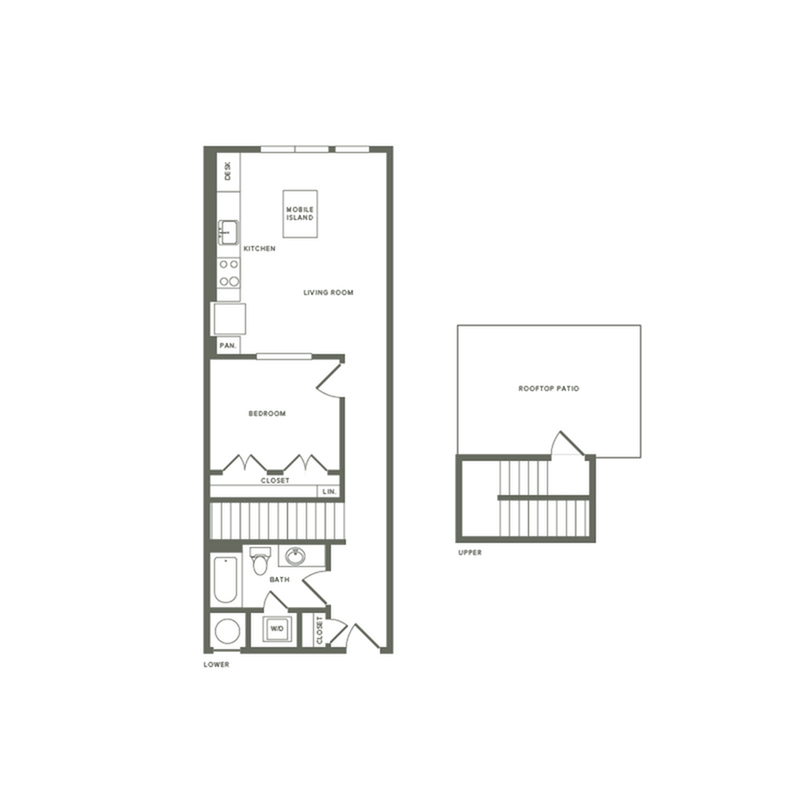 742 square foot one bedroom one bath with rooftop patio apartment floorplan image