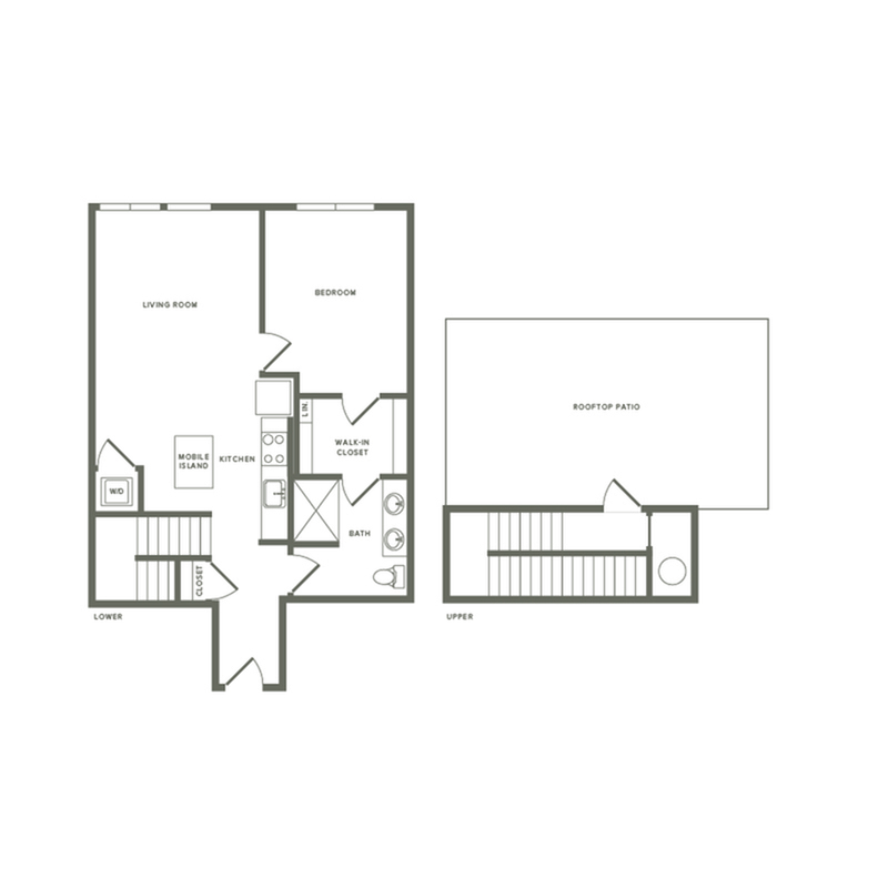 911 square foot one bedroom one bath with rooftop patio apartment floorplan image