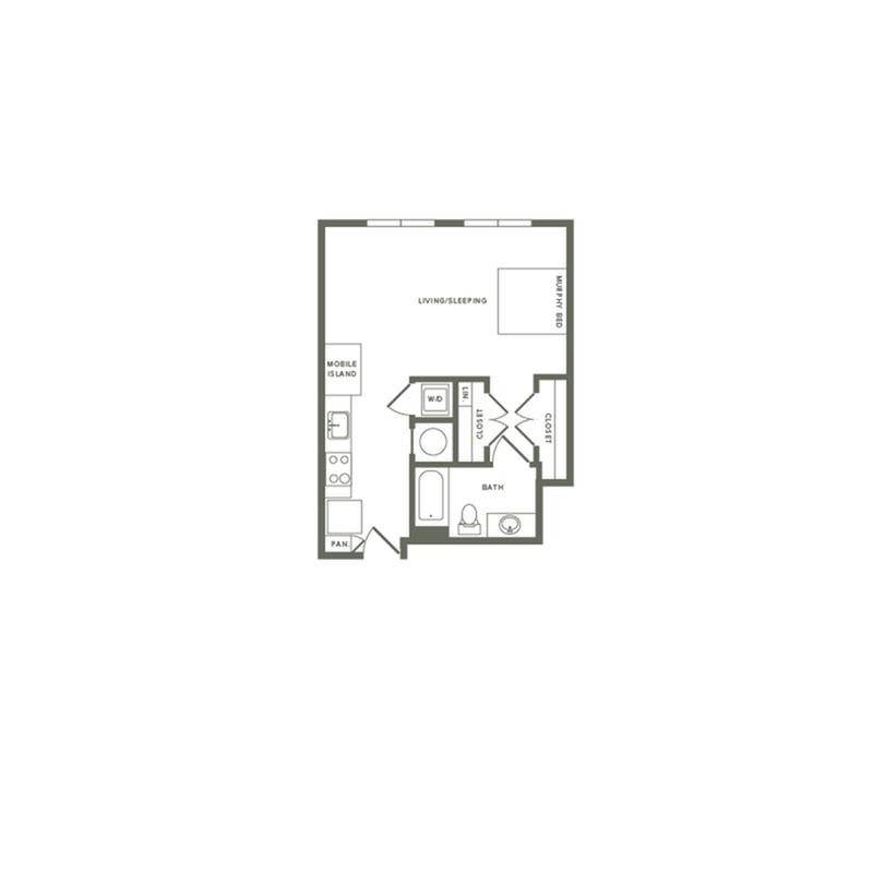 513 square foot studio one bath apartment floor plan image