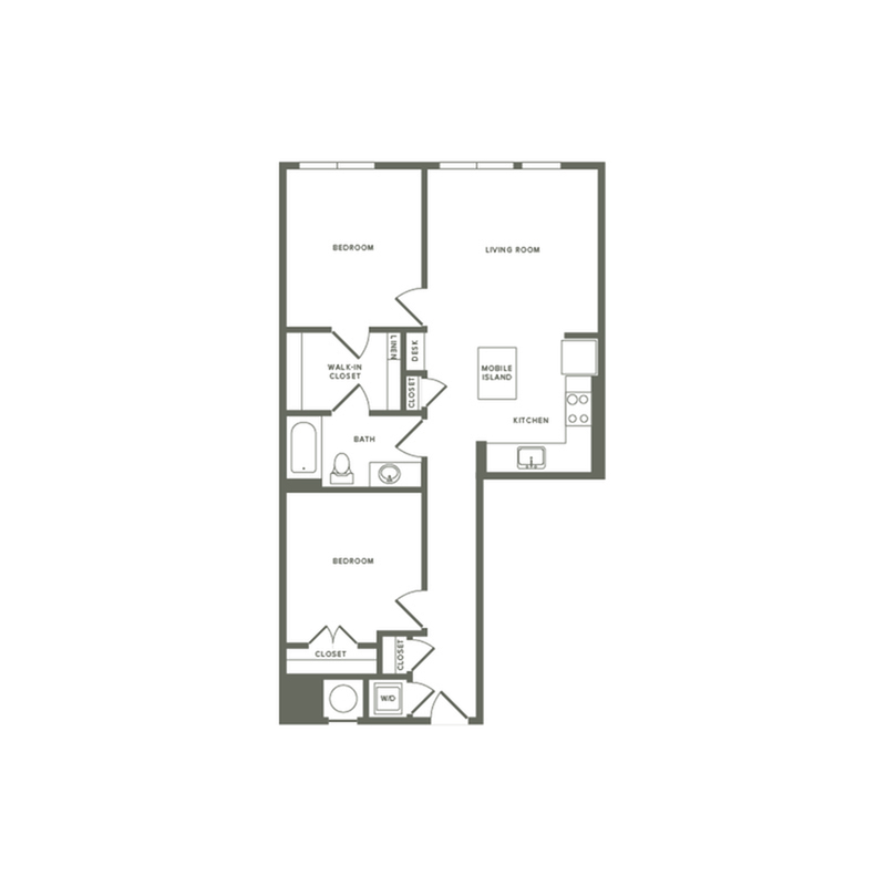 913 square foot two bedroom two bath apartment floorplan image