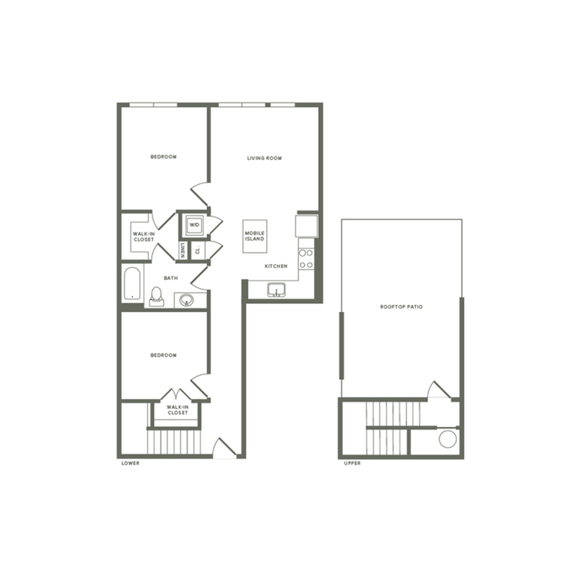 974 square foot two bedroom two bath with rooftop patio apartment floorplan image