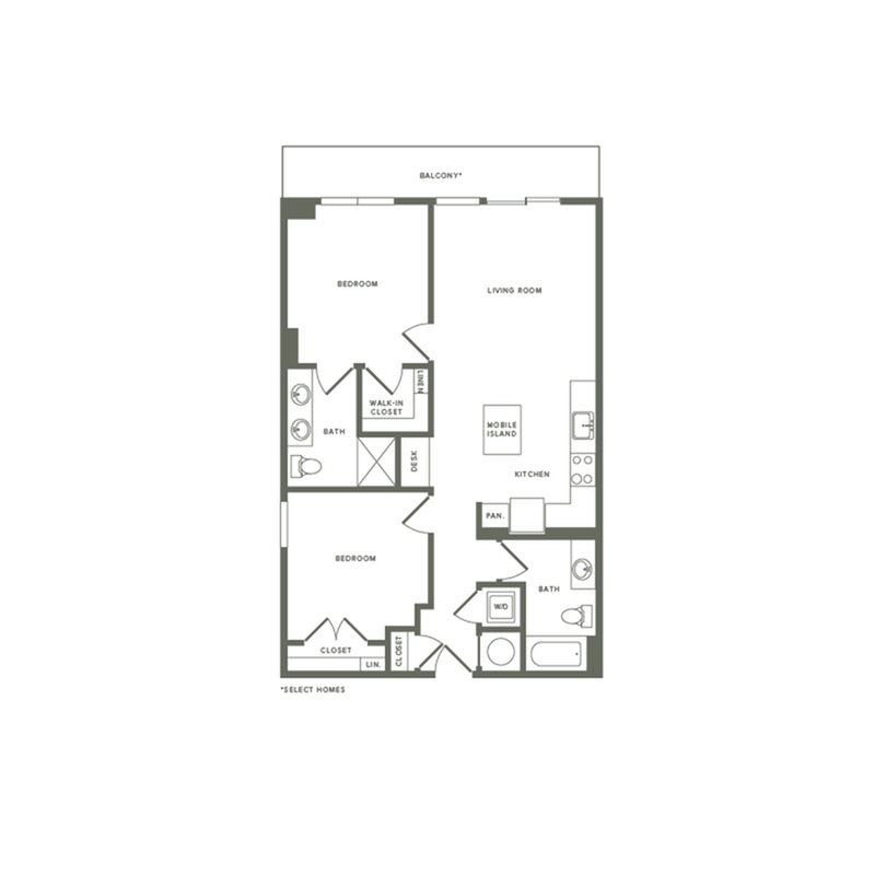 950 to 992 square foot two bedroom two bath apartment floorplan image