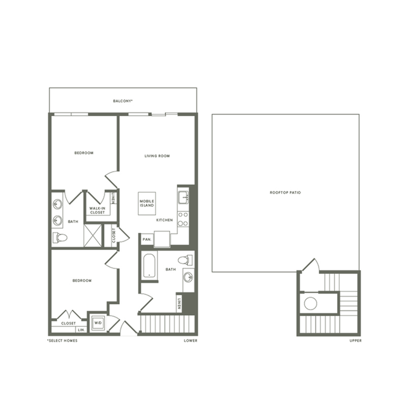 1022 square foot two bedroom two bath with rooftop patio apartment floorplan image