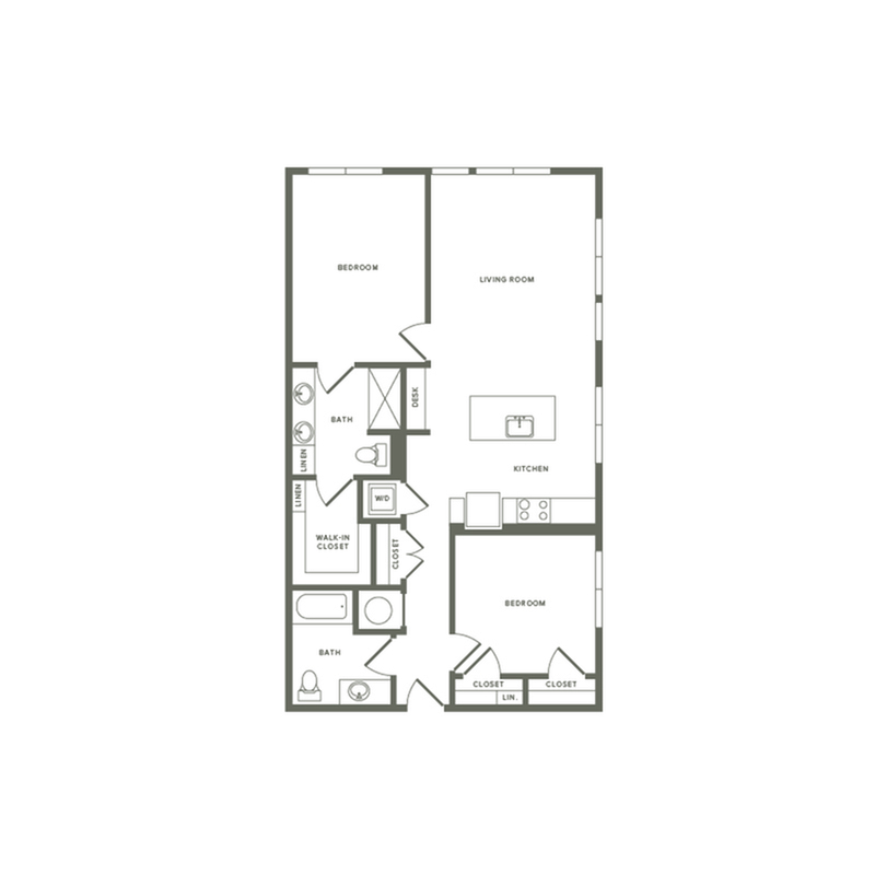 1082 square foot two bedroom two bath apartment floorplan image