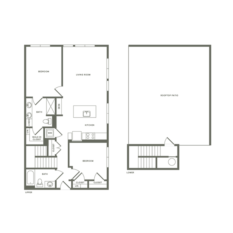 1144 square foot two bedroom two bath with rooftop patio apartment floorplan image